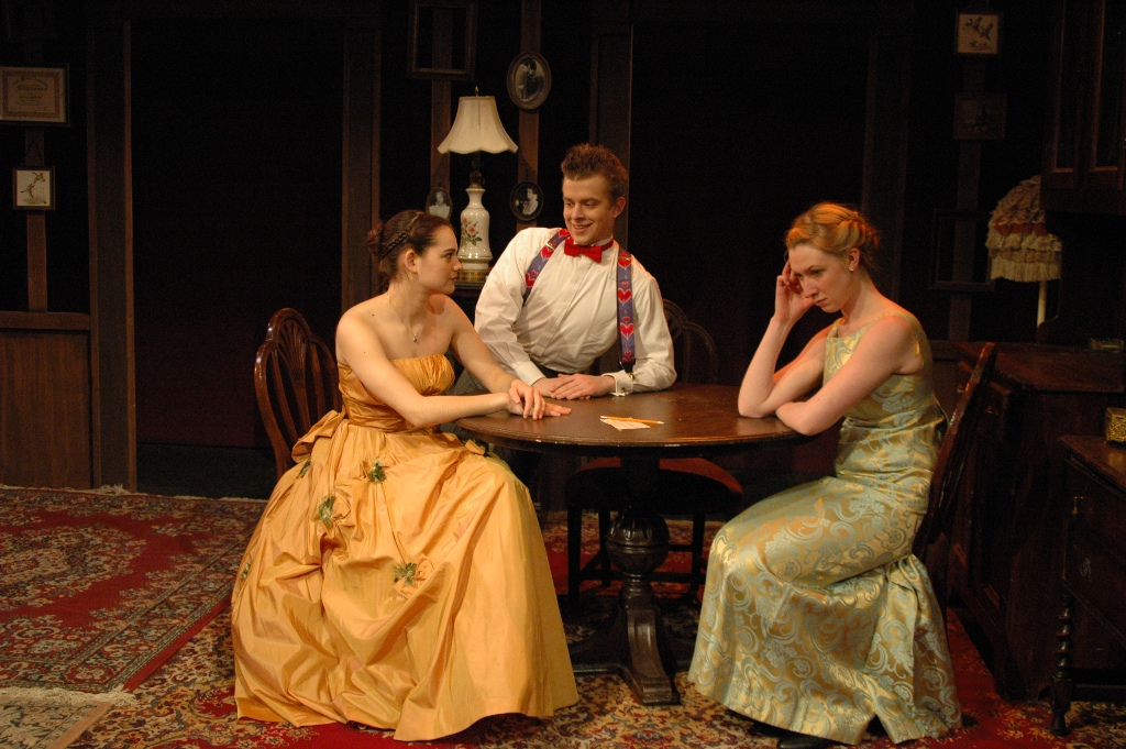 Teissia Treynet as Louisa, Joe Goldammer as Alfred, and Kaki Burns as May in In Common Hours